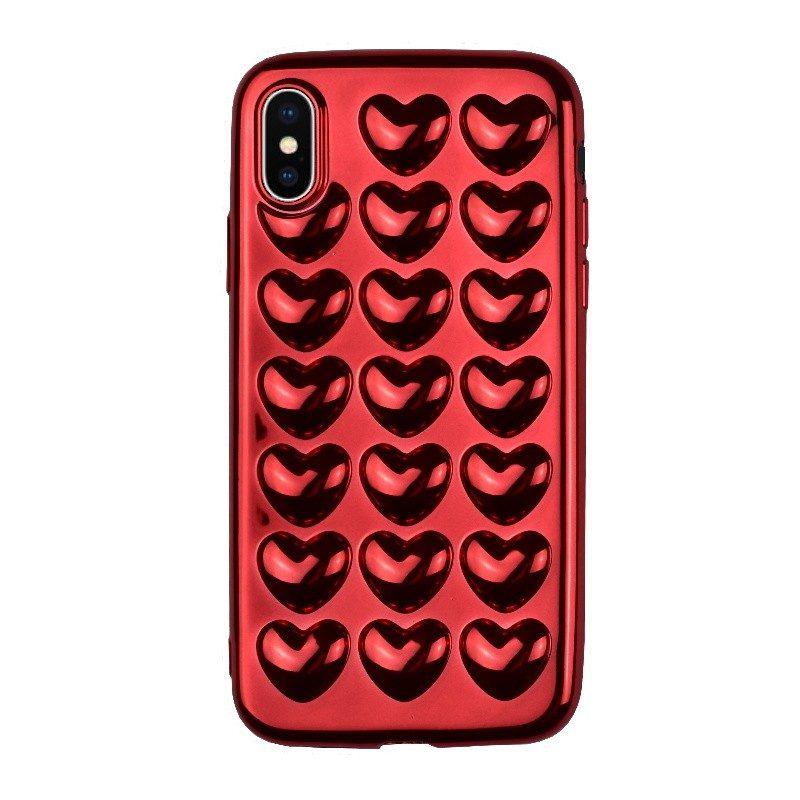 Silikónový 3D kryt pre iPhone X RED HEART