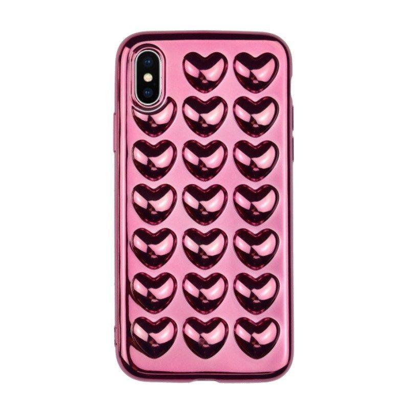 Silikónový 3D kryt pre iPhone X HEARTS