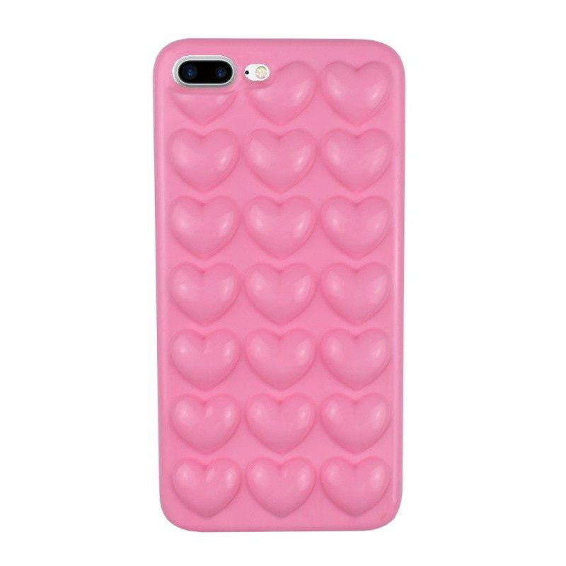 Silikónový 3D kryt pre iPhone 7/8 Plus PINK HEARTS