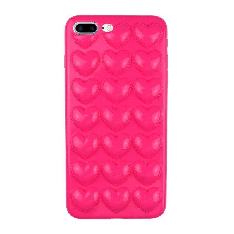 Silikónový 3D kryt pre iPhone 7/8 Plus PINK HEART