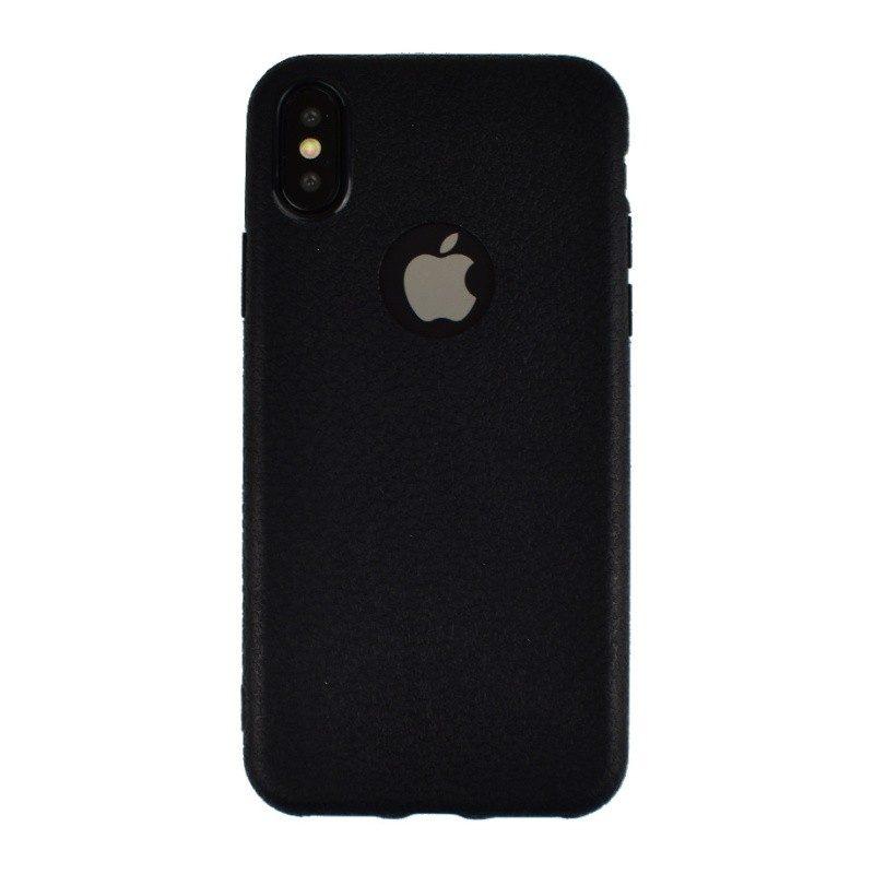 Silikónový kryt pre iPhone X LEATHER BLACK