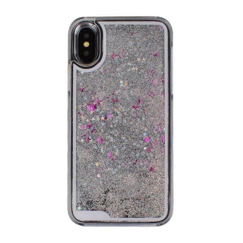 Presýpací plastový kryt pre iPhone X SILVER STARS