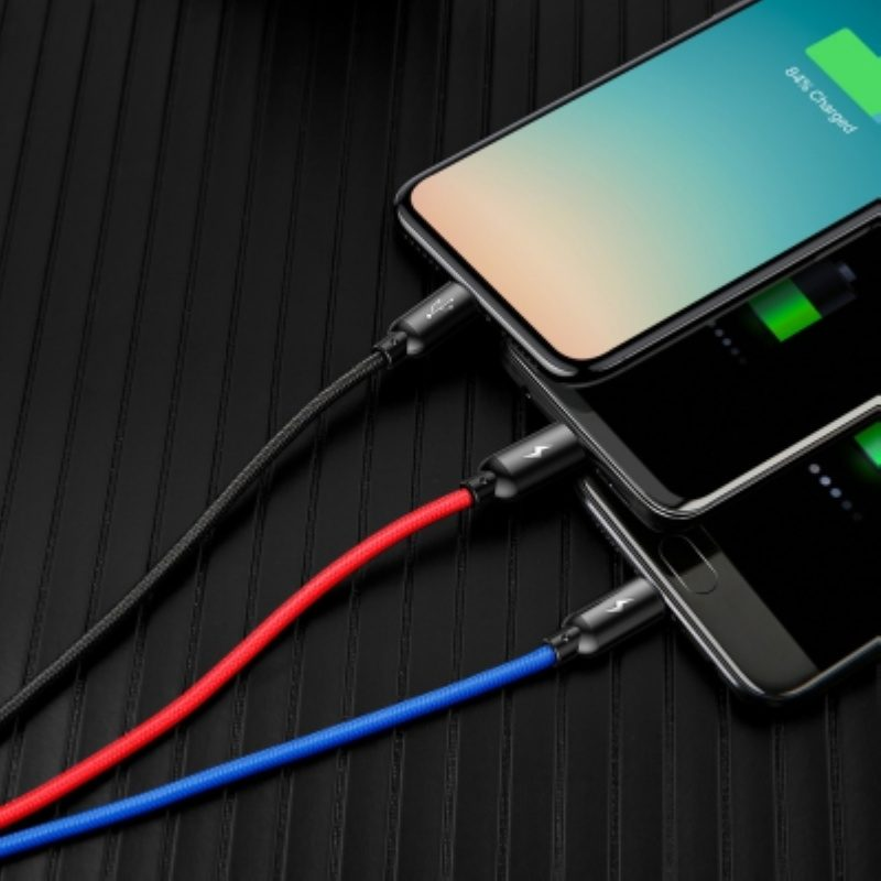 Cable USB to Lightning, Micro-USB a Type-C Baseus 3 v 1 Fast Charging 120cm