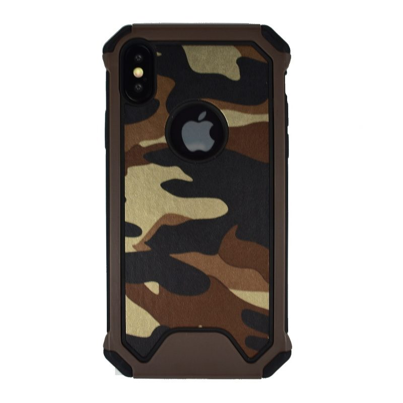 Odolný silikónový kryt pre Apple iPhone X/XS - maskáčový hnedý