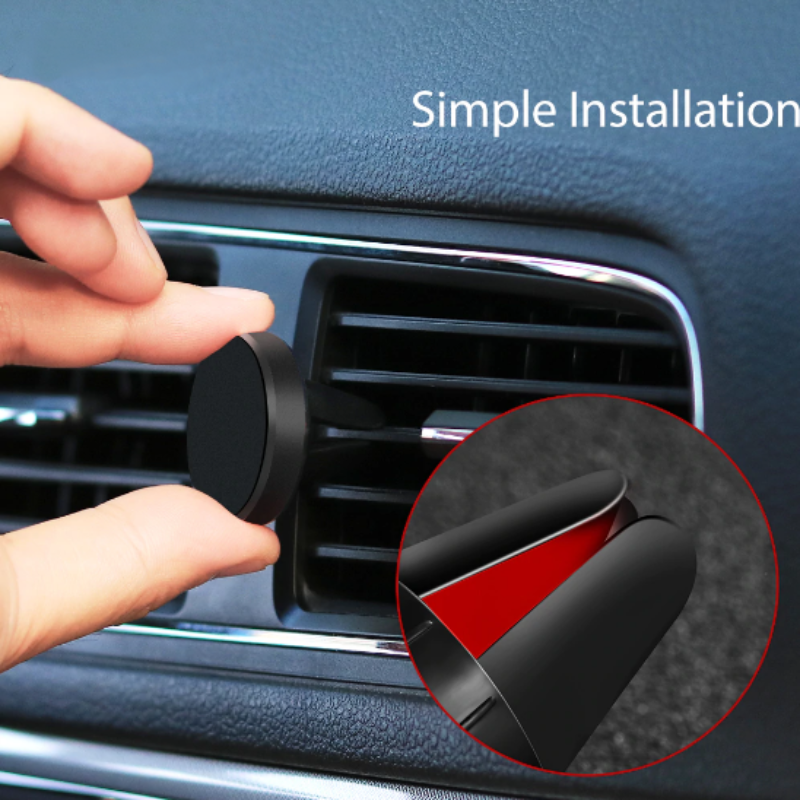 Okrúhly magnetický držiak na ventilačnú mriežku auta - čierny