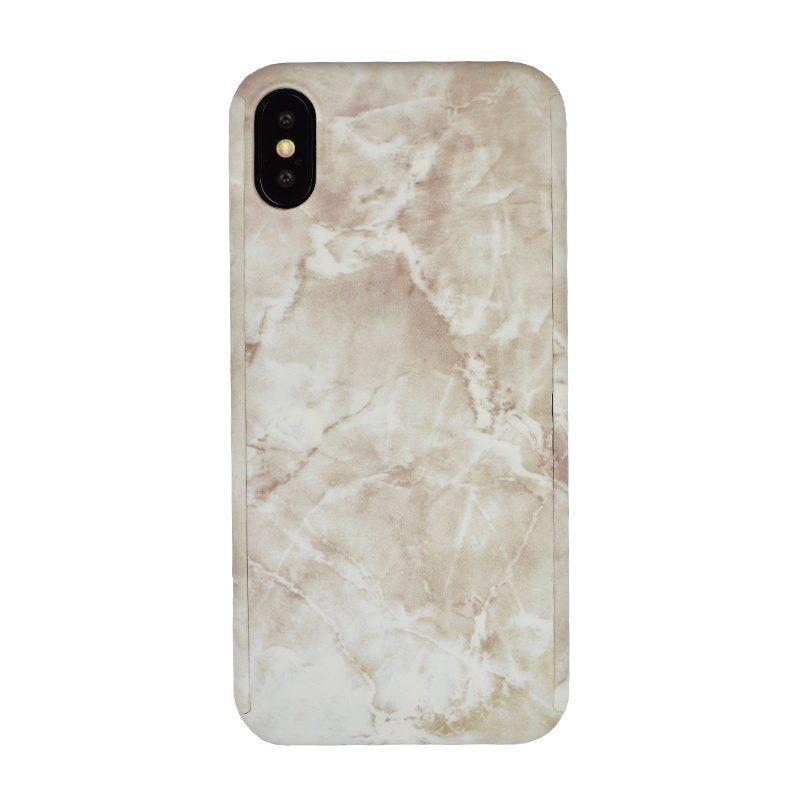Plastový kryt na iPhone X/XS White Marble Full Body