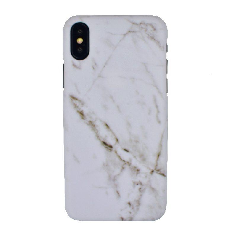 Plastový kryt na iPhone X/XS - biely mramor