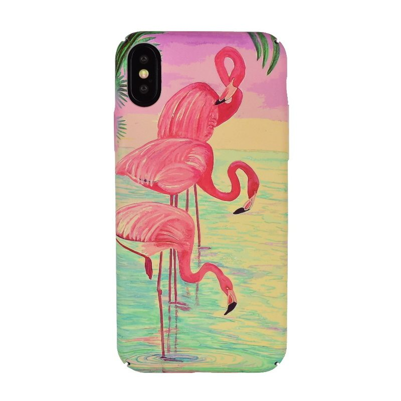 Plastový kryt na iPhone X/XS - flamingo