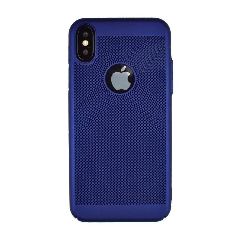 Plastový dierkovaný kryt na iPhone X/XS - modrý