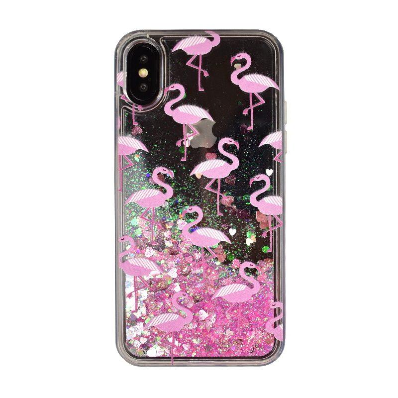 Plastový kryt na iPhone X/XS presýpací - flamingo