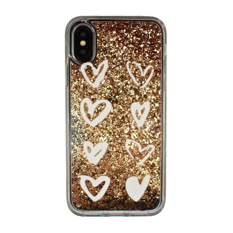 Plastový kryt na iPhone X/XS presýpací - gold heart
