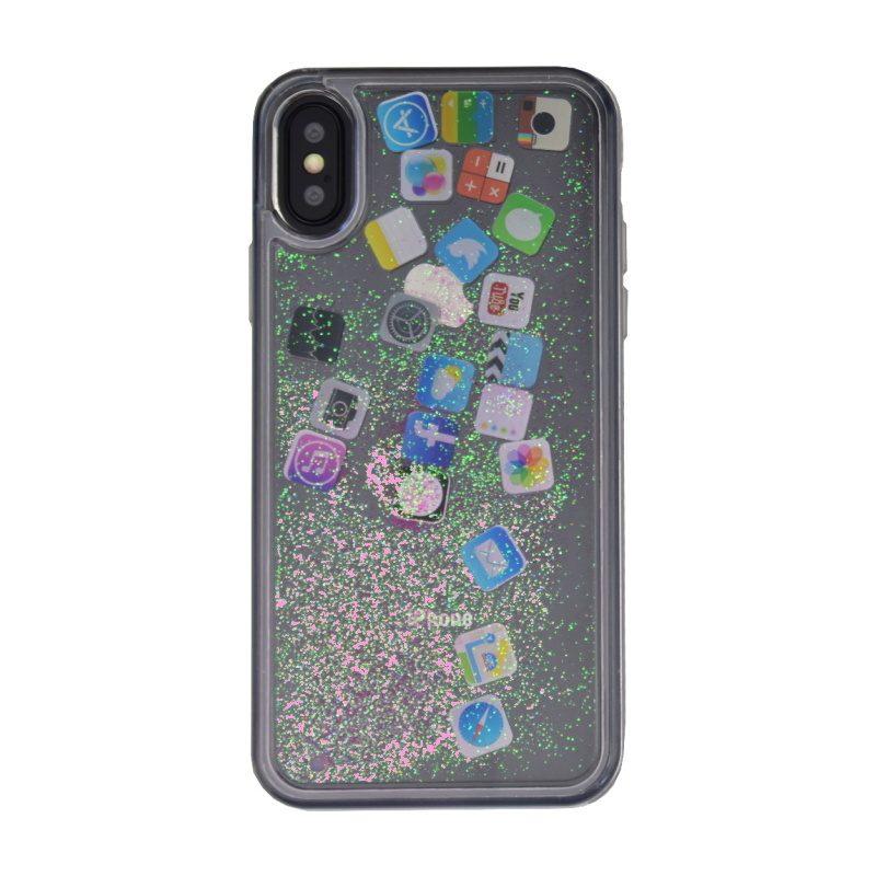 Plastový kryt na iPhone X/XS presýpací - pink social media
