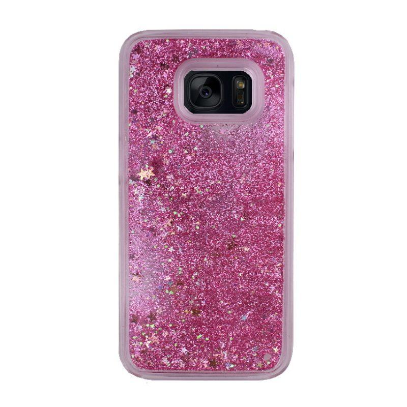 Plastový kryt na Samsung Galaxy S7 presýpací Pink Stars