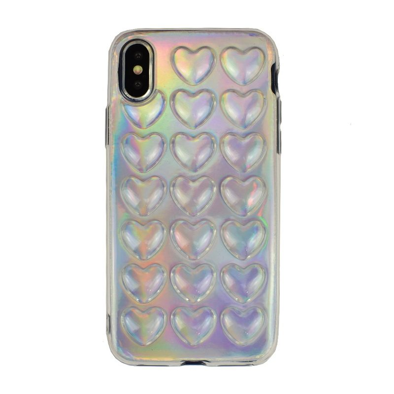 Silikónový 3D kryt na iPhone X/XS - silver heart