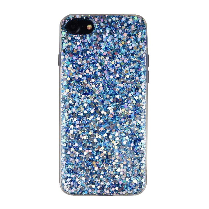 Silikónový kryt na iPhone 7/8/SE 2 Blue Sparkling Silver