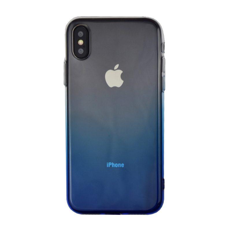 Silikónový kryt na iPhone X/XS priehľadný modrý