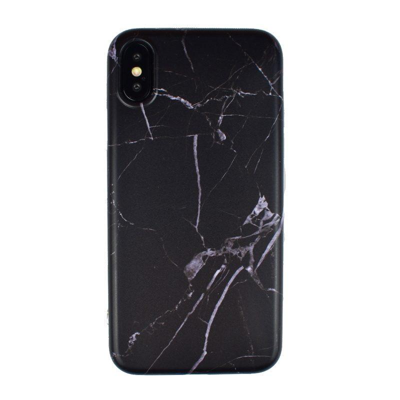 Silikónový kryt na iPhone X/XS - black marble