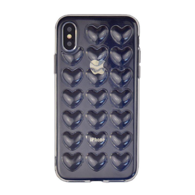 Silikónový 3D kryt na iPhone X/XS - clear heart