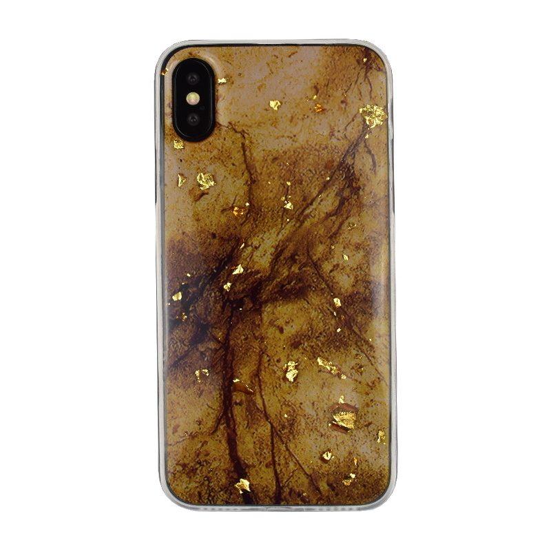 Silikónový kryt na iPhone X/XS - dark marble gold