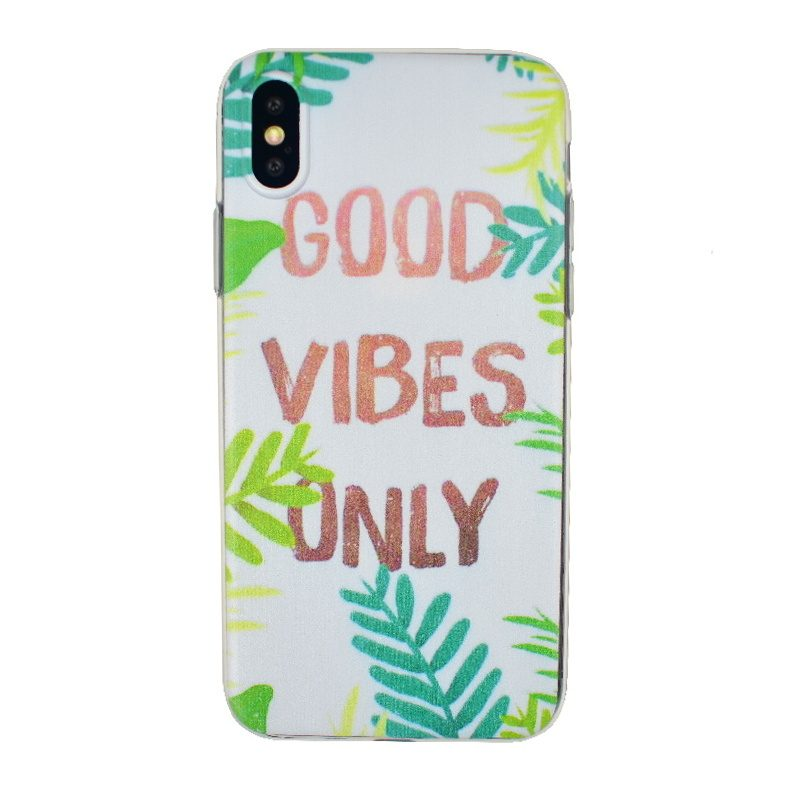 Silikónový kryt na iPhone X/XS - good vibes only