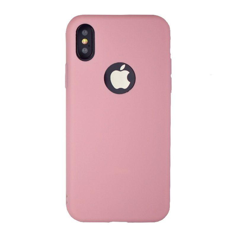 Silikónový kryt na iPhone X/XS ružový s výrezom