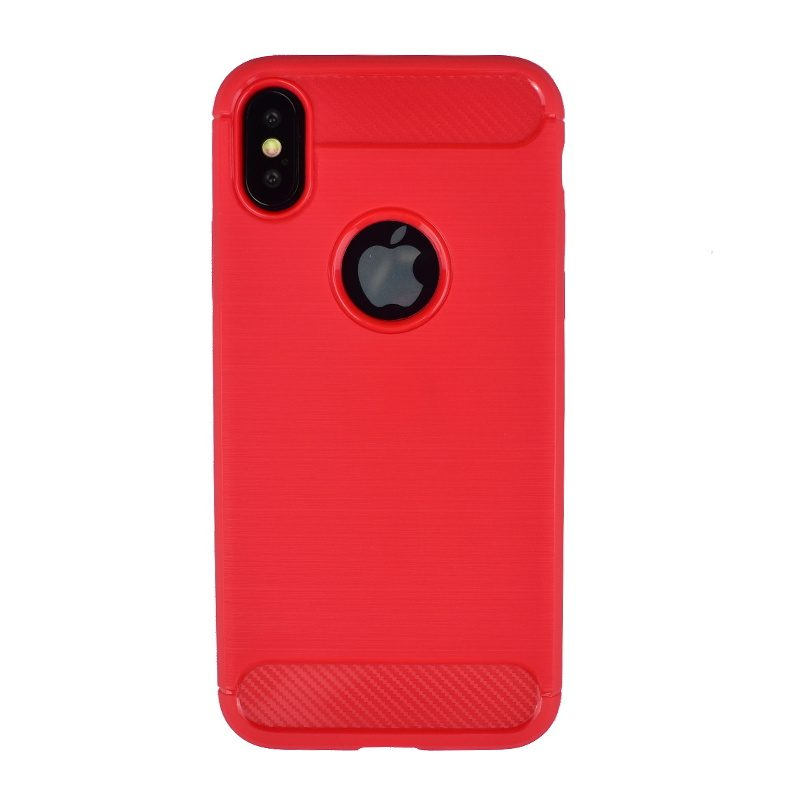 Silikónový kryt pre Apple iPhone X/XS karbónový červený