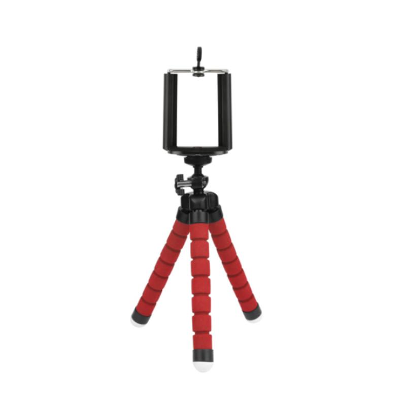 Statív tripod s držiakom na mobilný telefón - červený