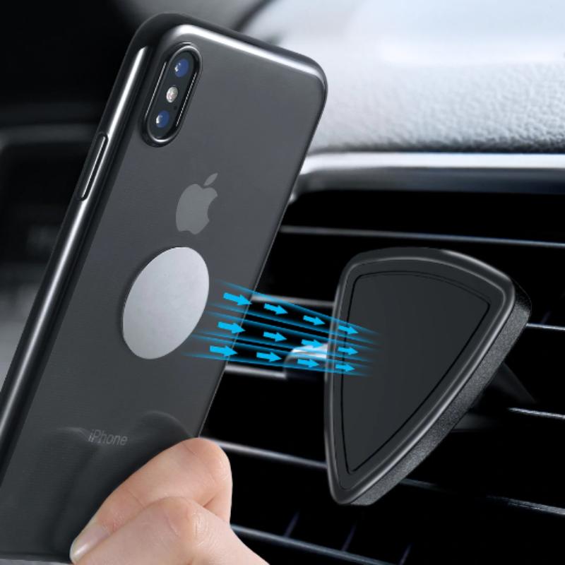 Trojuholníkový magnetický držiak na ventilačnú mriežku auta - čierny