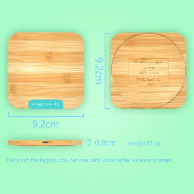 Auckly bezdrôtová nabíjačka 1.2A drevená