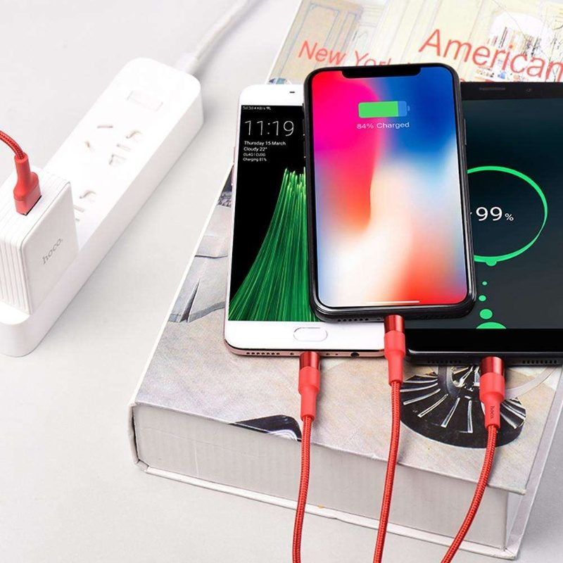 Hoco 3 v 1 Fast Charging Cable USB to Lightning, Micro-USB a Type-C 100cm