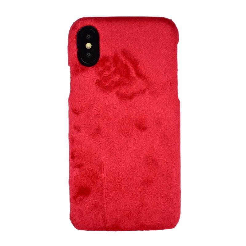 Plastový kryt pre Apple iPhone X/XS Red - potiahnutý látkou