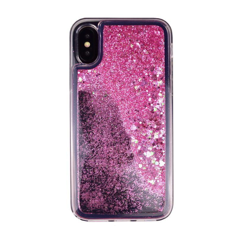 Presýpací silikónový kryt pre Apple iPhone X/XS Pink Hearts