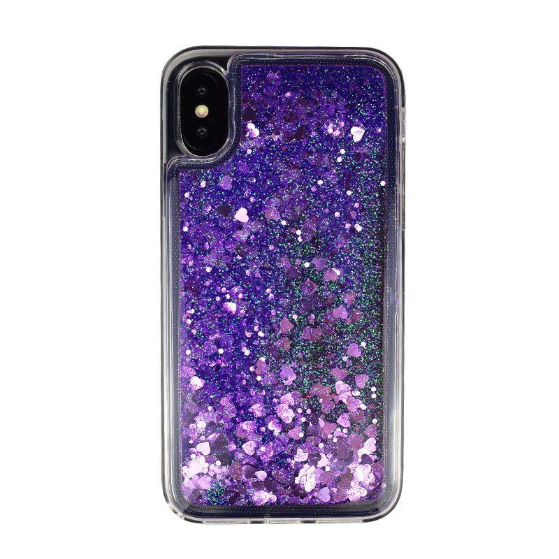 Presýpací silikónový kryt pre Apple iPhone X/XS Purple Hearts