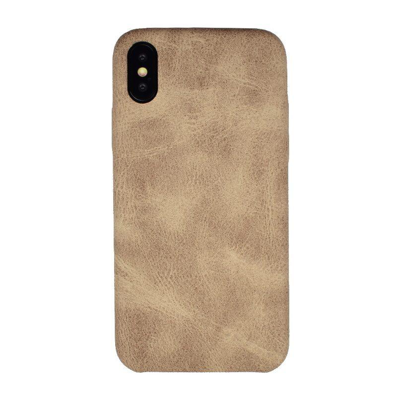 Silikónový kryt pre Apple iPhone X/XS Khaki - imitácia kože