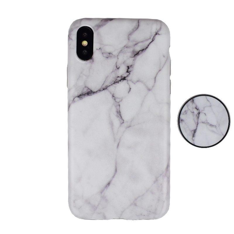 Silikónový kryt pre Apple iPhone X/XS White Marble s popsocketom