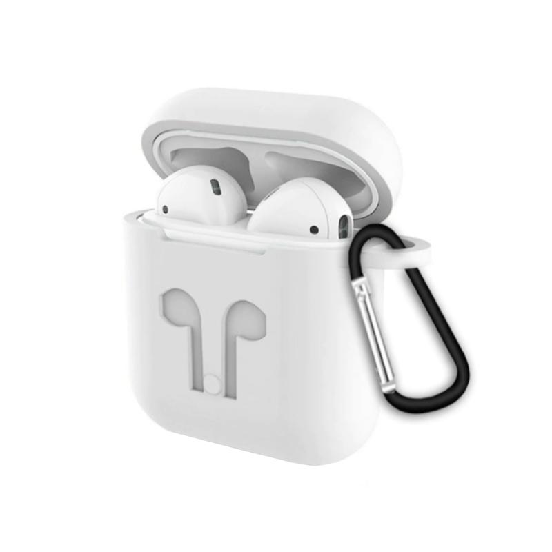 Silikónový obal pre Apple AirPods s držiakom – biely