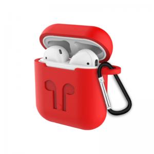 SilikónoSilikónový obal pre Apple AirPods s držiakom – červený