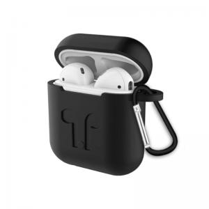 Silikónový obal pre Apple AirPods s držiakom – čierny