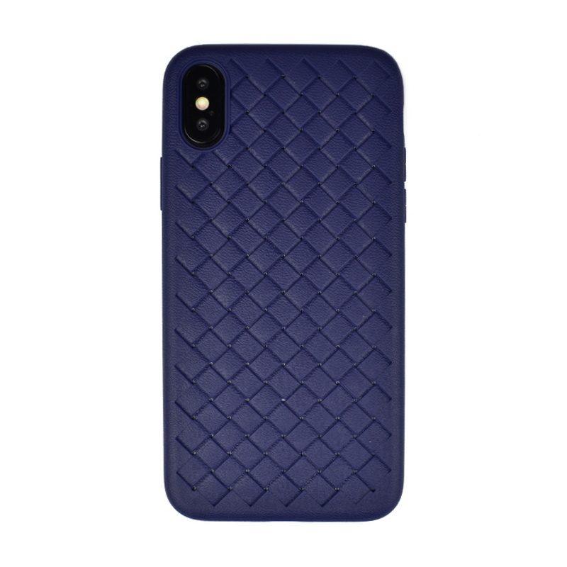 Silikónový kryt pre Apple iPhone X/XS Blue imitácia kože