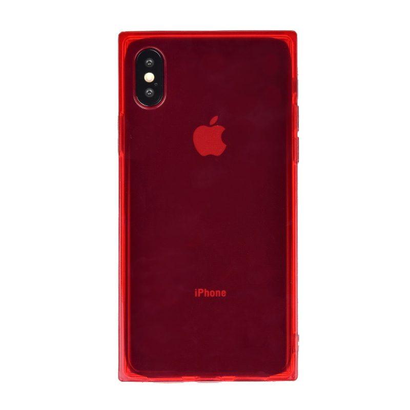Silikónový kryt pre Apple iPhone X/XS Red - hranatý