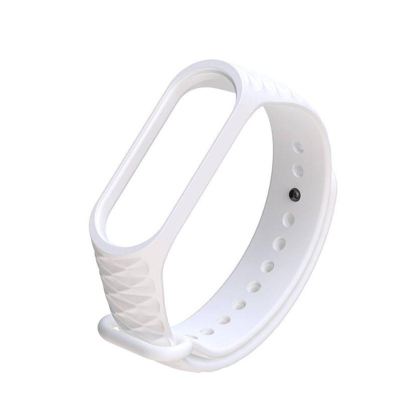 Silikónový remienok pre Xiaomi Mi Band 3 vrúbkovaný biely