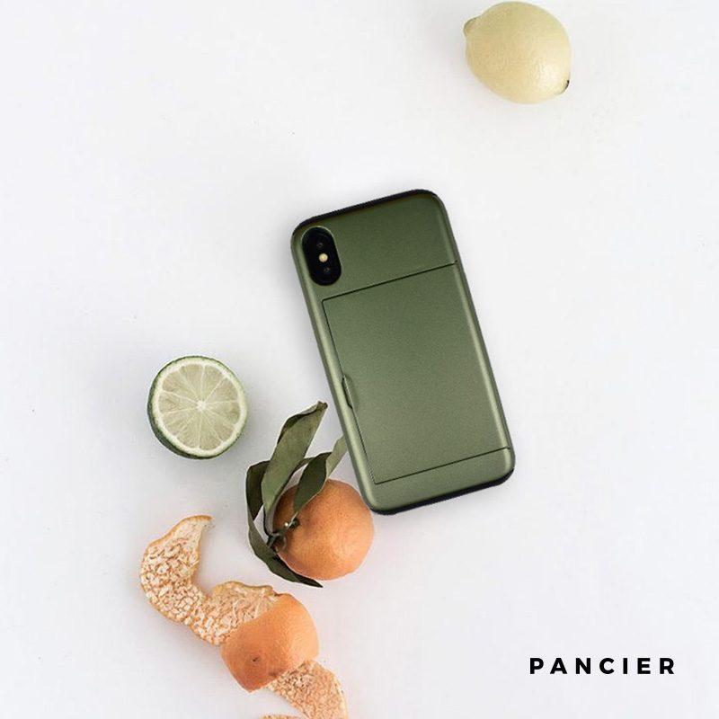Plastový kryt na iPhone X/XS odolný s priehradkou zelený