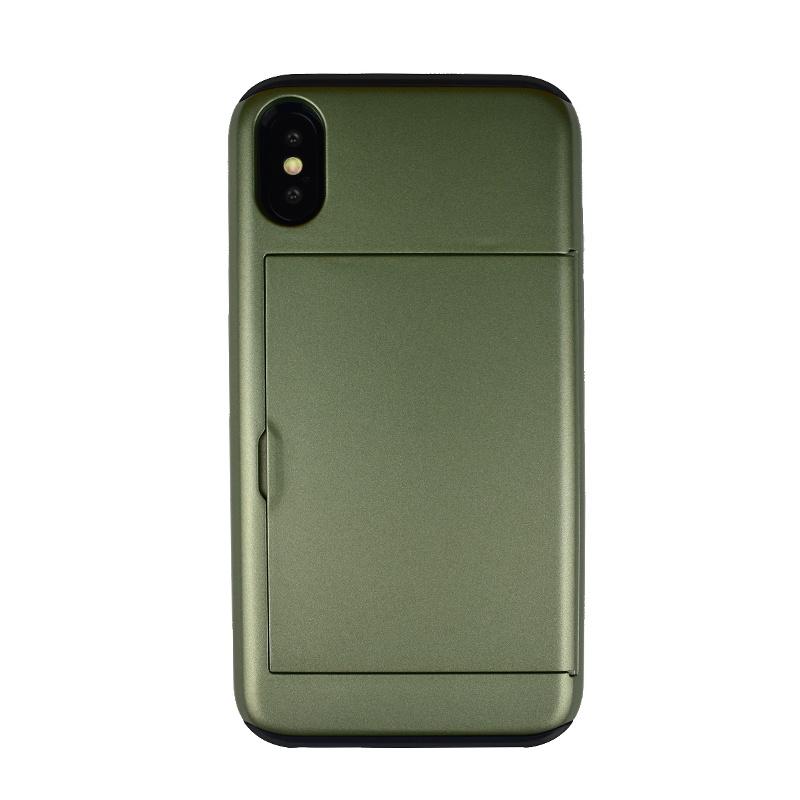 Odolný plastový kryt pre Apple iPhone X/XS s priehradkou zelený