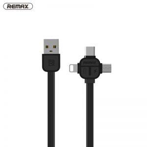 Remax 3 v 1 Lightning, Micro-USB a Typ-C 100cm 2.1A - čierny