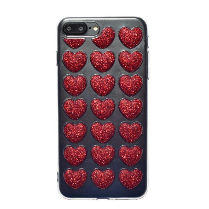 Apple iPhone 7/8 Plus silikónový 3D kryt Red Heart