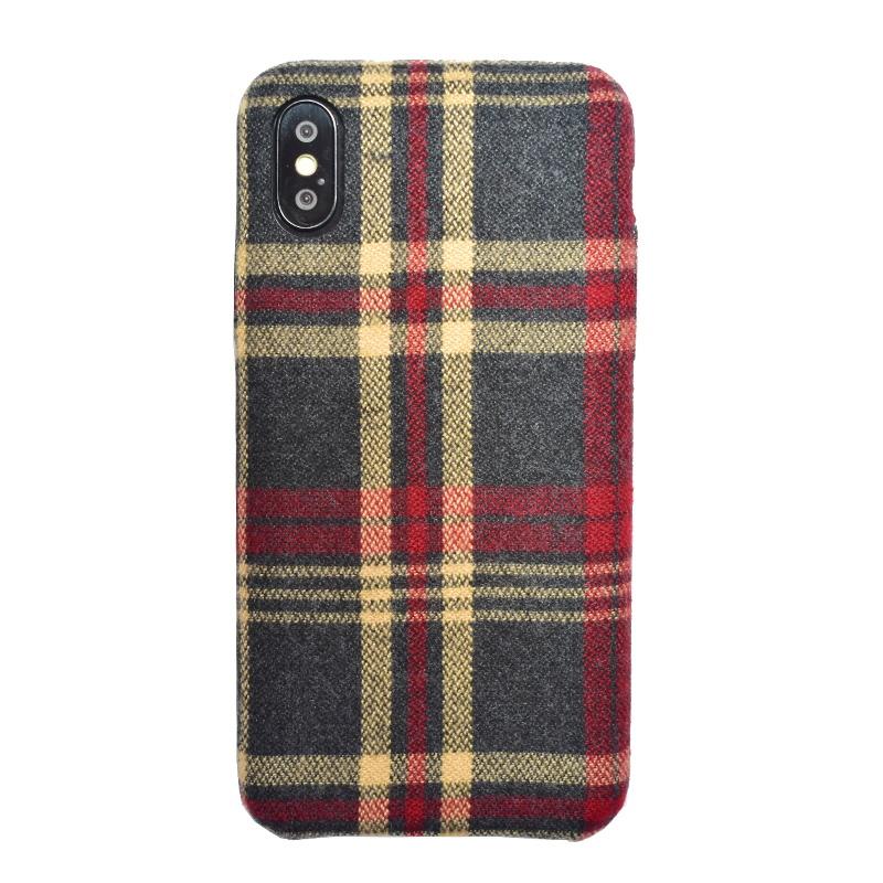 Apple iPhone X/XS plastový kryt Red Checkered – potiahnutý látkou