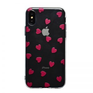 Apple iPhone X/XS silikónový kryt Dark Pink Hearts