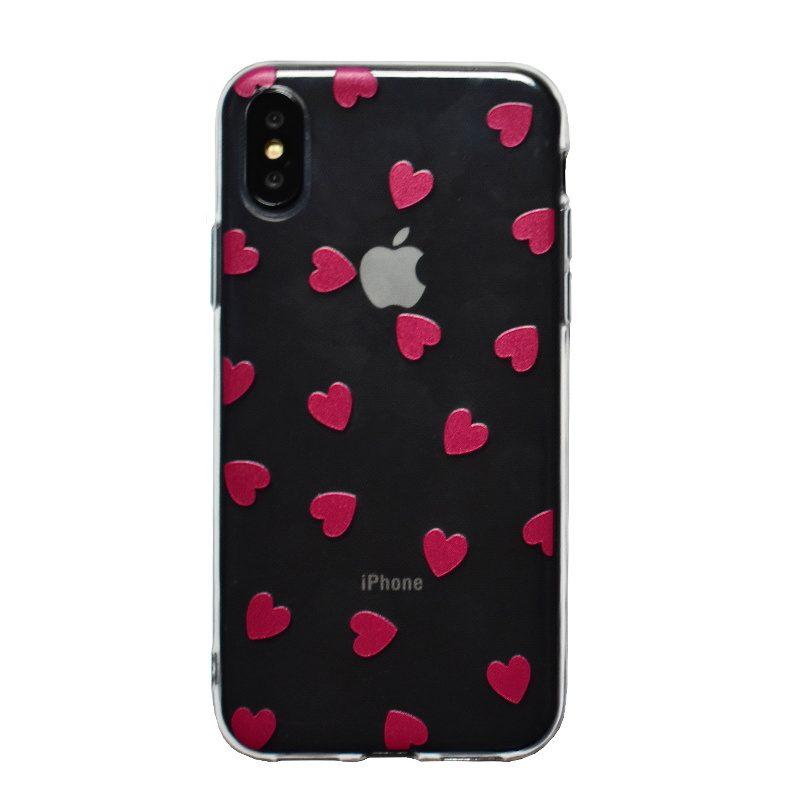 Apple iPhone X/XS silikónový kryt Dark Pink Hearts