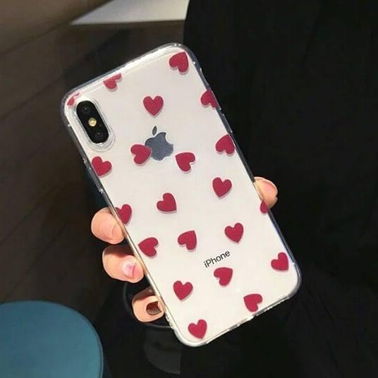 Silikónový kryt na iPhone X/XS Dark Pink Hearts