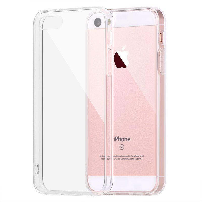 Apple iPhone 5/5S/SE silikónový kryt s hladkými hranami - priehľadný